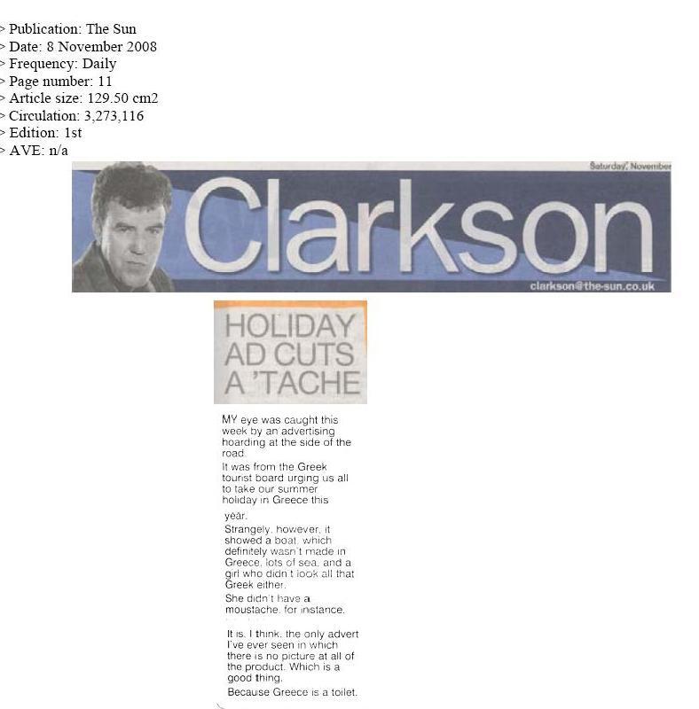 Άρθρο του Κλάρκσον στη The Sun